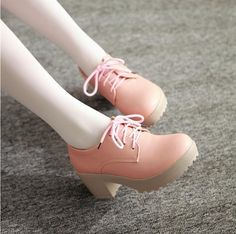 Gizmal Boots - Chunky Heel Lace-Up Platform Shoes. These need an outfit w/ some texture.