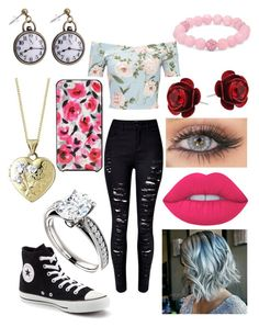 """""""Idek"""" by robandshannon ❤ liked on Polyvore featuring Miss Selfridge, WithChic, Converse, Lime Crime, Kate Spade and Palm Beach Jewelry"""