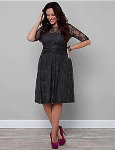 c164078f63a The Plus Size Luna Lace Dress by Kiyonna is available in a beautiful  Twilight Grey color for Fall. Pair it with silver strappy sandals for a  monochromatic ...