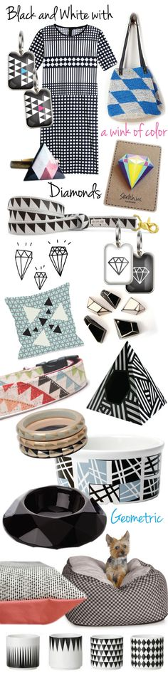 Black, white, diamonds and geometric