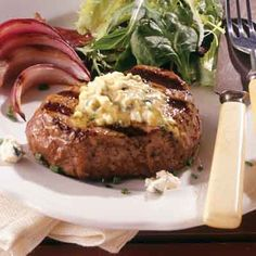 Beef tenderloin steaks taste incredible with a dollop of blue cheese and mustard-flavored butter.
