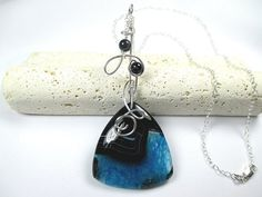 Sterling Silver Geode Pendant Black Blue Druzy Stone by SimpleGem, $40.00