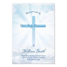 First Communion Catholic boy holy cross Invitation   Zazzle.com