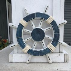 Hey, I found this really awesome Etsy listing at https://www.etsy.com/listing/239548814/rustic-white-and-blue-nautical-ship