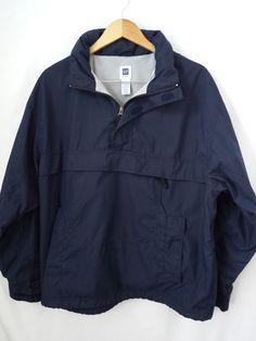 Gap Men's Jacket Size Large Pullover Hooded Hoodie Navy Blue 1/4 Zip Pockets #Gap #BasicJacket #Hoodie