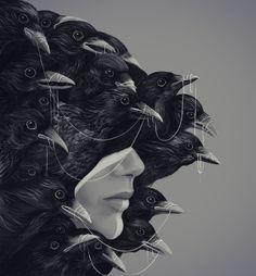 """Mental Alchemy"" by Alex Fitch Crow Art, Raven Art, Art Sketches, Art Drawings, Vikings, Eugenia Loli, Blackbird Singing, Yennefer Of Vengerberg, Raven Queen"