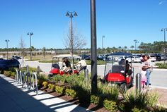 "Residents park their EV-Carts in specially designated ""EV Only Parking"" in front of Publix. #convenient"