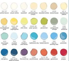 Pottery Barn Paint Colors!@Lisha Harman. For the basement I'm going more towards a crystals springs and bright white. Second one from the left third row.