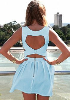 Light Blue Plain Heart Cut Out Pleated Dress - Mini Dresses - Dresses