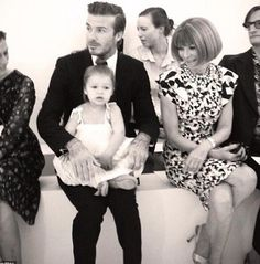 David beckham, harper beckham and Anna wintor - you can't sit with us