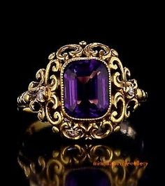 Antique Russian Renaissance-style gold ring with Siberian Amethyst by a prominen. Antique Russian Renaissance-style gold ring with Siberian Amethyst by a prominent St. Petersburg jeweler Yakov Rosen, made between 1904 and 1908 Vintage Engagement Rings, Vintage Rings, Vintage Style, Antique Jewelry, Vintage Jewelry, Antique Necklace, Antique Gold, Antique Locket, Antique Bracelets