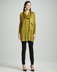 Washable Wool Cardigan, Silk Jersey Tunic Tank, Stretch Ponte Skinny Jeans & Whisper Silk Scarf by Eileen Fisher at Neiman Marcus.