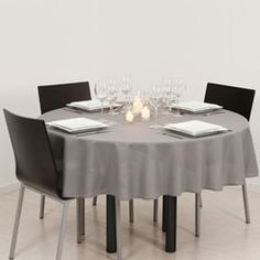 Nappe anti-taches - Diam 180 cm - Gris ATMOSPHERA - Nappe