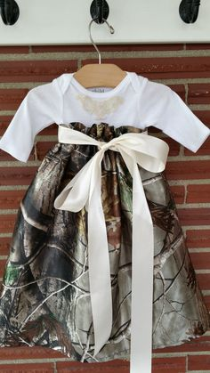 Realtree Satin Onesie Long Dress with embroidery applique and satin ribbon sash. This dress can be made with a short or long sleeve onesie. Daddys Girl, Girl Camo, Kids Outfits, Cute Outfits, Baby Kids Clothes, Kids Clothing, Camo Baby Stuff, Everything Baby, Kind Mode