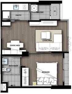 ขนาด 42 ตร.ม. ดีไซน์มาดี ห้องนี้ผ่านการคิดมาเยอะครับ เป็นห้องหน้ากว้าง 7.4 เมตร แบ่งออกเป็น 3 ตอน คือห้องครัว, ห้องนอน, ห้องรับแขก ที่จะได้หน้าต่างครบทั้ง 3 ส่วน พื้นใช้ลามิเนต 12 มม. ที่ดีกว่า ลามิเนต 8 มม. ธรรมดาแต่ยังไม่เท่า Engineering Wood (หน้าไม้จริงปิดผิว)  สรุปง่ายๆว่าการออกแบบห้อง 42 ตารางเมตรนี้ทำได้เยี่ยมครับ
