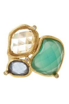 18K Gold Clad Multi-Crystal Asymmetrical Cluster Ring