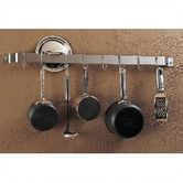 Found it at Wayfair - Gourmet Bar Wall Mounted Pot Rack this is the longest one - 36""