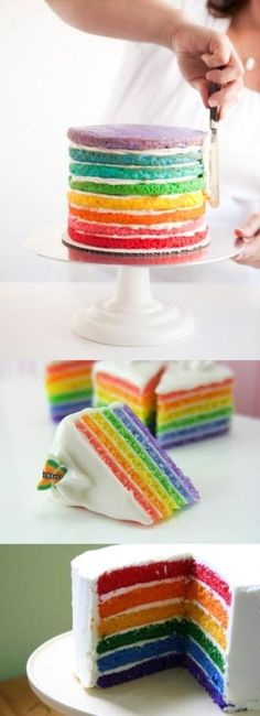 Rainbow cakes...FYI...the one in the middle isn't real. It's a miniature made of clay.
