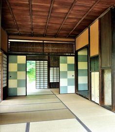 Fusuma door at Katsura-rikyu, Kyoto, Japan: fusuma is a paper sliding door and these are made from the papers made by National Living Treasure of Japan, IWANO Ichibei.