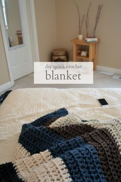 Crochet blanket that can me made in one day if you crochet all day. 9 skeins, large hook, double crochet, about 4x6 feet.