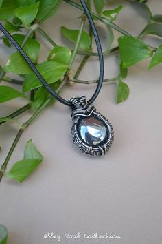 Hematite Silver Wire Wrapped Pendant. Men's Style Gemstone