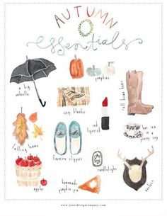Autumn Essentials Watercolor Print by Jones Design Company // Fall, Seasons, Artwork, Inspire, Create Autumn Day, Autumn Leaves, Fallen Leaves, Autumn Room, Autumn Girl, Fall Days, Hello Autumn, Herbst Bucket List, Jones Design Company