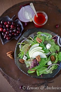 Mixed Green with Apples, Candied Pecans and Cranberry Vinaigrette