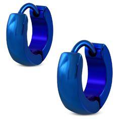 Blauwe Creolen van edelstaal.