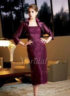 Kleider für die Brautmutter - $129.99 - Etui-Linie Rechteckiger Ausschnitt Wadenlang Taft Spitze Kleid für die Brautmutter mit Rüschen Perlen verziert (00805006888)