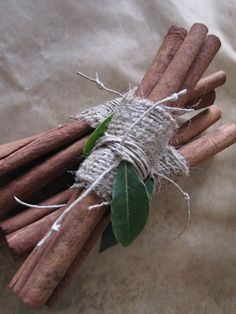 Burlap bundles of cinnamon sticks