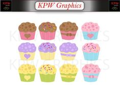 Cupcakes Clip-art Set in a PNG file format. Personal & Small Commercial use