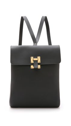 Sophie hulme Box Flap Rucksack - Black in Black Backpack Purse, Clutch Bag, Leather Backpack, Black Backpack, My Bags, Purses And Bags, Black Leather Bags, Real Leather, Bag Accessories
