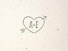 Woodsy Wedding - Stamp - Arrow through Heart. Tree. Folk. Nature. Envelope. Initials. Custom.
