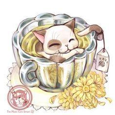 Cat in cup of tea Magic Cat, Cartoon Painting, Kawaii Cat, Kawaii Drawings, Cat Drawing, Cute Characters, Animal Drawings, Cat Art, Cute Wallpapers