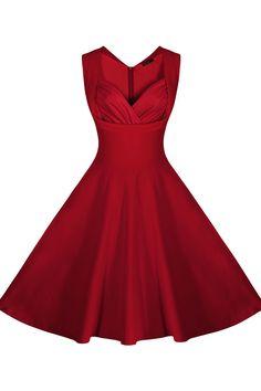 Femmes de Casual Cut Out Col En V Vintage Retro Party Dress dans Robes de Femmes de Vêtements et Accessoires sur AliExpress.com | Alibaba Group