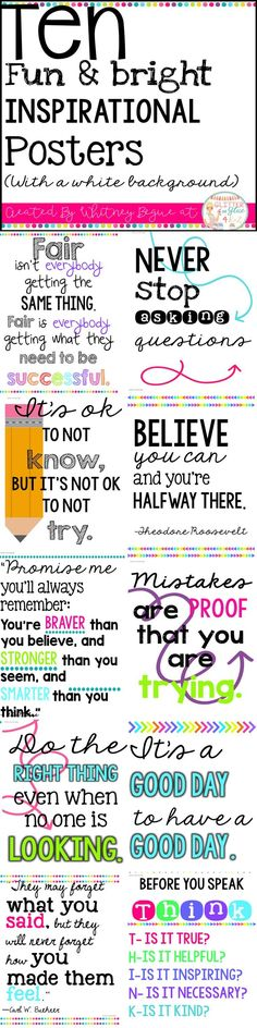 Looking for something inspirational to brighten up your classroom? These posters include ten of my f Classroom Quotes, Classroom Posters, Teacher Quotes, Future Classroom, Classroom Themes, School Classroom, Classroom Organization, Classroom Management, Counseling Posters