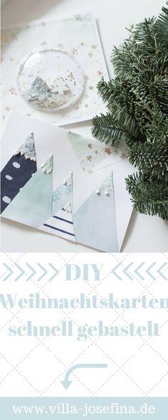 Schnell hübsche und persönliche Weihnachtskarten basteln. DIY Weihnachten, selbstgemacht, Karten mit Schneekugel, Berge