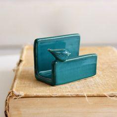 Little Bird Verical Business Card Holder Dark Teal Modern