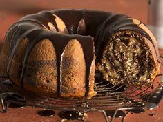 Marmerkoek bedruip met sjokolade