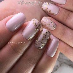 Фотография pink and gold trimmed nails Creative Nail Designs, Creative Nails, Nail Art Designs, Sexy Nails, Cute Nails, Pretty Nails, Gold Nails, Pink Nails, Oval Nails