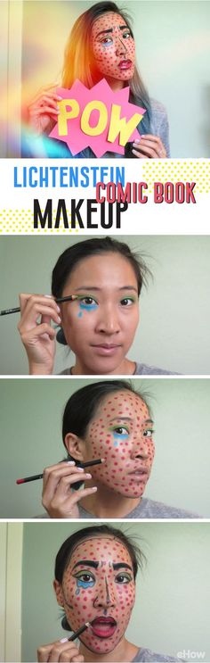 How to do Lichtenstein makeup! Do this classic comic book, pop art makeup to yourself with this easy-to-follow tutorial: http://www.ehow.com/how_12340720_lichtenstein-comic-book-makeup.html?utm_source=pinterest.com&utm_medium=referral&utm_content=freestyle&utm_campaign=fanpage