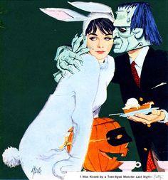 'I WAS KISSED BY A MONSTER LAST NIGHT' ( Vintage Halloween Illustration / retro halloween costume / frankenstein / bunny / pumpkin )