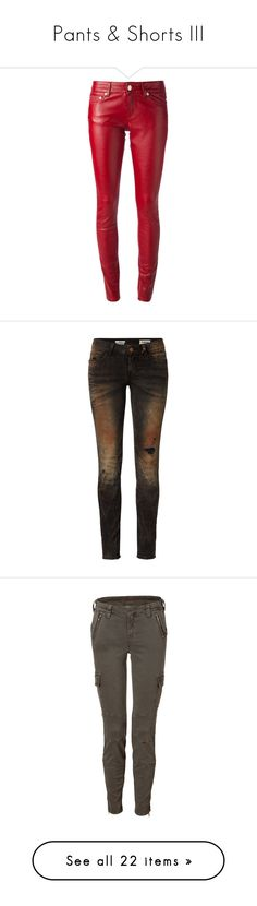 """""""Pants & Shorts III"""" by canadian-necromancer ❤ liked on Polyvore featuring pants, bottoms, jeans, calças, red, real leather pants, button pants, skinny pants, zip pants and red trousers"""
