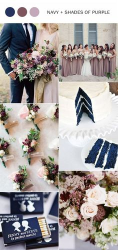 navy blue and shades of purple wedding color ideas for fall 2017 by michele