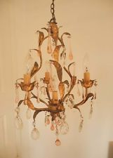 Fab! Vintage Italian Gilded Tole 4 Light CHANDELIER~Crystals & Pink Prism Drops