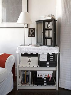 Projects in progress can really mess with your orderly living area.  -- Group all your supplies in one shelving unit and tuck it into a corner.  -- Cover it with a cut-up coverlet and hook-and-loop tape (cut an additional piece to wrap around the shelf).  -- Use the top as a side table and accessorize it to match the rest of your living area.