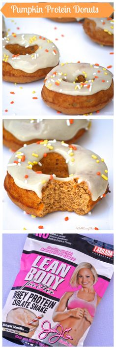 Vanilla Frosted Pumpkin Protein Donuts..by WorthEveryChew.com The perfect deliciously healthy breakfast made with paleo friendly protein powder.