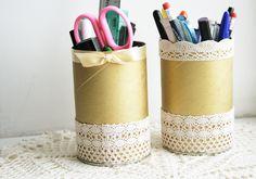 Porta-lápis feitos de rolo de papelão podem sim serem sofisticados e elaborados.