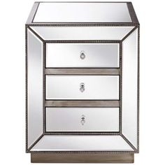 Piper Champagne Silver 3-Drawer Mirrored Accent Table - #2N408 | LampsPlus.com