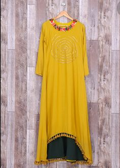 Beautiful Muslin /Silky cotton kurti with superb work and trims. It's my Hit creation.